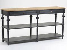 Console double 2 tiroirs + 2 étagères bois noir et naturel L160 cm NEW LEGENDE