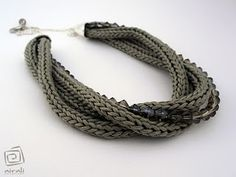 tricotin necklace - fiber, textile, fabric handmade jewlery, knitted necklace