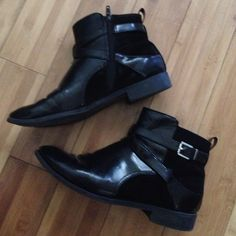H&M Booties Black patent leather with suede accent. Decent condition. I wore them a few times H&M Shoes Ankle Boots & Booties