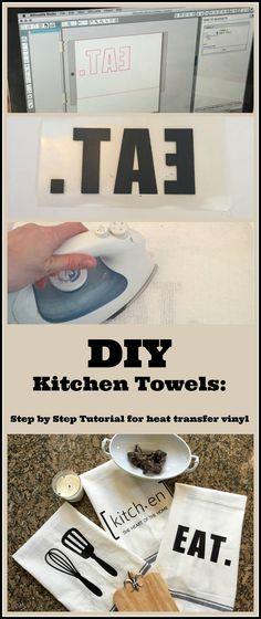 Craft Ideas-Silhouette Challenge: Kitchen Towels DIY Custom Kitchen Towels Using a Heat Transfer Image Plotter Silhouette Cameo, Silhouette Cameo Projects, Vinyl Crafts, Diy Home Crafts, Easy Crafts, Diy Vinyl Projects, Decor Crafts, Diy Para A Casa, Diy Kitchen