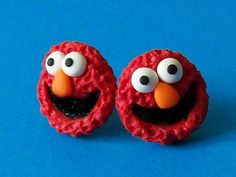 Elmo stud earrings polymer clay fimo handmade