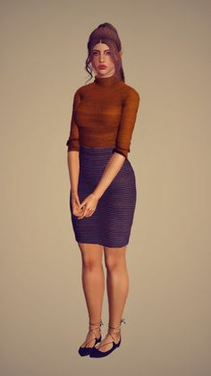 A simple business casual outfit for your ladies. - 2 Separate pieces (top & skirt) - All morphs, including pregnancy - CompressedGet it here Sims 3 Mods, Sims Cc, Sims 3 Cc Finds, Sims Baby, Look Magazine, Sims 4 Game, Business Casual Outfits, Universe, Clothes For Women