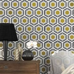 Hexagon Allover Stencil from Cutting Edge Stencils This modern geometric stencil design is inspired by the popular Hexagon wallpaper patterns. Our Hexagon stencil pattern is perfect in contemporary decor settings, hallways, your home office or bath. It can also be suitable for a modern nursery if you adjust the color scheme. http://www.cuttingedgestencils.com/hexagon-wall-pattern-stencil-geometric-stencils.html