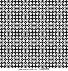 Vector seamless pattern, abstract ornamental background. Simple black & white geometric figures, rounded crosses, squares. Repeat monochrome texture. Design for prints, decoration, textile, digital