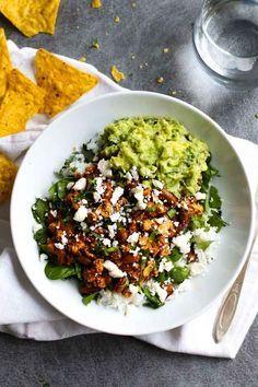 Spicy Sofritas Veggie Bowls - make these vegan/vegetarian bowls at home! SO good!