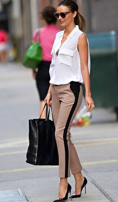 Biege and black pants. Modern Style Icon: Miranda Kerr via La Dolce Vita