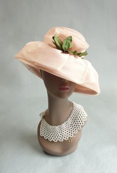 Vintage Pink Hat with Wide Brim by ROBERTA BERNAY with Rosette Applique. $49.00, via Etsy.