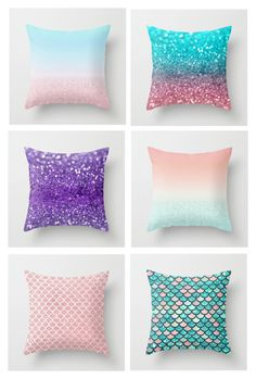 """""""Mermaid glitter pillow collection"""" by zpeale ❤ liked on Polyvore featuring interior, interiors, interior design, home, home decor and interior decorating"""