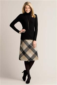 Ribbed Turtleneck Sweater & Wool A-Line Skirt | Chadwicks