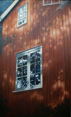 Hos morfar berättade vi spökhistorier.<br />Olja, c.a. 80 x 55 cm.