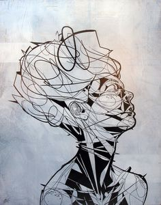 "creative portrait painting: Jason Thielke: ""Jewel"" aerosol & acrylic on panel, Line Drawing, Painting & Drawing, Contour Drawing, Gcse Art, Ap Art, Creative Portraits, Pablo Picasso, Cool Art, Art Projects"