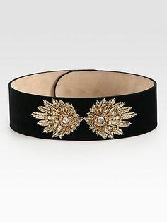 Alexander McQueen - Embroidered Suede Belt - Saks.com