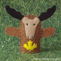 Canadian Moose Finger Puppet  Felt Animal Puppet  by cherylasmith