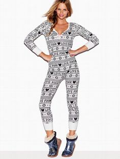 Victoria's Secret PINK Thermal Long Jane, I can't decide between the black and white (pictured) or the pink and white striped. But yeah, I'm getting at least one of these.