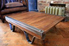 Vintage Industrial hand crafted Coffee Table by TheRetroStationUK