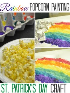 St.-Patrick's-Day-kid's-craft-rainbow-popcorn-painting