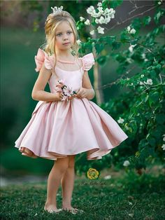Girls Pink Beaded Flutter Sleeve Special Occasion Dress with Large Bow - Pink / 8 - Girls Flower Girl Dresses Flower Girls, Flower Girl Dresses, Little Girl Dresses, Girls Dresses, Pink Dresses For Kids, Bow Dresses, Dance Dresses, Girls Special Occasion Dresses, Kind Mode