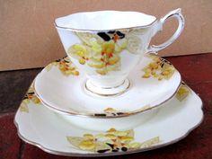 Art Deco / Vintage China Tea Set trio.Royal Albert Crown China.Laburnham.British