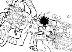 Luffy vs Dalsin - Crie este episódio de luta por que os dois tem poderes parecidos, pelo fato de se esticarem e serem de borracha. Monkey D. Luffy é do One Piece de Eiichiro Oda.  Dalsin do street fighter.