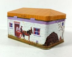 Vintage Tin House Storage Tin Carolans Country by MysticLily ~ HAVE!