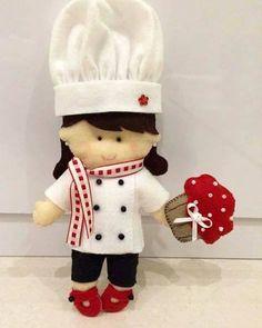 Molde de boneca cozinheira em feltro Download de molde de feltro de boneca cozinheira #feltro #boneca #diy #artesanato #felt #molde