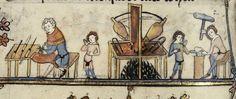 Medieval life. Black smith. Flemish 14th cent,. Bodl Lib. MS Bodl 264jpg