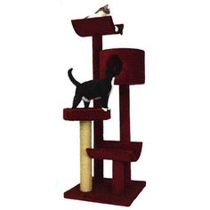 "Molly and Friends 66"" Condo, Bed and Cradles Cat Tree Color: Burgundy, Poles Color: Medium Grey"