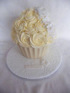 Cream rose giant cupcake