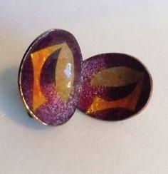Lucille / Virgil Cantini Modernist Enamel Earrings Copper Purple Orange Signed.    eBay