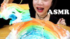ASMR CREPE CAKE Rainbow MUKBANG 먹방   Sticky Eating Sounds   ASMR Aquarius Cake Rainbow, Crepe Cake, Led Ring Light, Asmr, Food Styling, Aquarius, Give It To Me, Make It Yourself, Goldfish Bowl