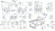 Sheet-metal truck mounted crane model - Assembly drawing