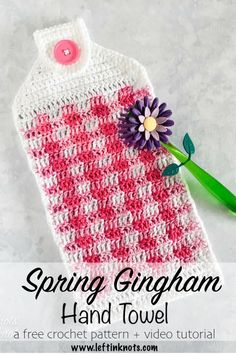 Make this crochet gingham hand towel for spring or summer with the free crochet pattern available here!  There is also a right and left handed video tutorial to get you started.  This hand towel matches my Spring Gingham Dishcloths and the set would make a great DIY Mother's Day gift! #crochet #freecrochetpattern #gingham #decor
