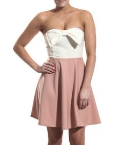 Another great find on #zulily! White & Rose Bow Strapless Dress by Coveted Clothing #zulilyfinds