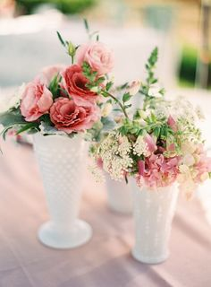 Vintage Pink Wedding at a Private Estate View entire slideshow: Beautiful White Wedding Details on www. Glass Centerpieces, Wedding Centerpieces, Wedding Table, Diy Wedding, Centrepieces, Vases Decor, Wedding Decor, Wedding Ideas, Vintage Pink