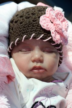 Baby Girl Hat Brown with Pink Flower and Pink Decorative Stitches,