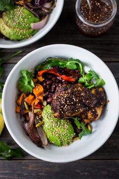"""Salsa Macha Bowl- with Chicken or Tofu, roasted yams and peppers, avocado and flavorful """"Salsa Macha"""", a delicious Mexican condiment you will fall in love with! 