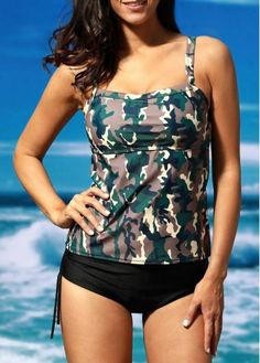 AdoreWe - unsigned Camouflage Print Two Piece Swimwear Set - AdoreWe.com