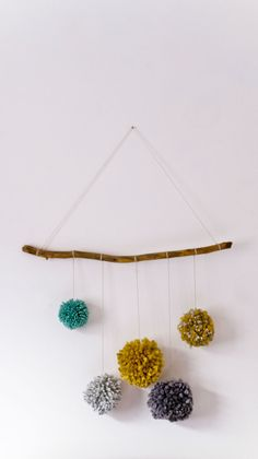 Natural Wood Pom Pom Mobile, Neutral Grey/Gray, Mustard, Teal/Duck Egg Woodland Nursery Wall Hanging, Rustic Decor