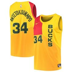 c0167194f922 Men s Milwaukee Bucks Giannis Antetokounmpo Nike Yellow City Edition Swingman  Jersey