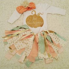 Handmade Thanksgiving tutu outfit - Fabric Tutu - Handmade Skirt - Holiday Outfit - First Thanksgiving Set - Baby Girls Outfit - Baby Girls by MadieAndQuinn on Etsy https://www.etsy.com/listing/255537799/handmade-thanksgiving-tutu-outfit-fabric