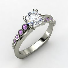Round Diamond Sterling Silver Ring with Amethyst - Isabella Ring | Gemvara