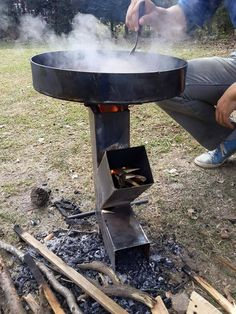 Discover thousands of images about Rocket stove mod with secondary air holes to hopefully burn wood gas( at black line) Metal Projects, Welding Projects, Bbq Grill, Grilling, Ideias Diy, Rocket Stoves, Camping Stove, Camping Grill, Outdoor Fire