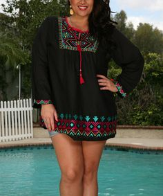 Look what I found on #zulily! Black & Red Geometric Tassel-Front Tunic - Plus #zulilyfinds