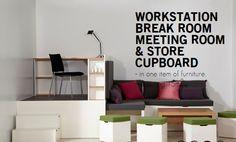 En 15m2 un puesto de trabajo, Una sala de descanso, una sala de reuniones y una despensa. http://matroshkafurniture.com/business/index.html