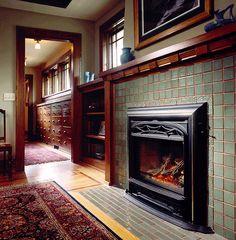 craftsman trim and tile fireplace