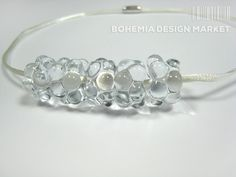 Sea foam necklace / handmade glass jewellery http://en.bohemia-design-market.com/designer/petra-hamplova
