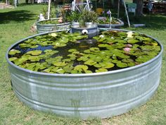 Galvanized tank used as a fish pond