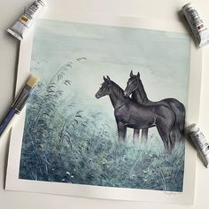 reverie original gouache painting on lush watercolour paper Years ago I taught myself to draw by drawing possibly thousands of horses. I will be her grow old of them. Im an OG Horse Girl. Horse Girl, Gouache Painting, Watercolor Paper, Lush, Moose Art, Alice, Horses, Drawings, Animals