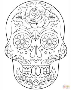 sugar skull with flowers coloring page from day of the dead category select from 20883 printable crafts of cartoons nature animals bible and many more