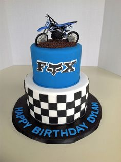 Two tiered checkered board dirt bike cake. Contact us for your custom cakes Motocross Birthday Party, Motorcycle Birthday Parties, Dirt Bike Party, Dirt Bike Birthday, Motorcross Cake, Bolo Motocross, Motorcycle Cake, Mini Cakes, Cupcake Cakes